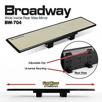 Napolex Broadway 270mm Wide Non-Glare Rearview Mirror Black Frame (BW-704)