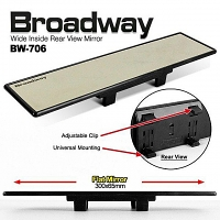 Napolex Broadway 300mm Wide Non-Glare Rearview Mirror Black Frame (BW-706)