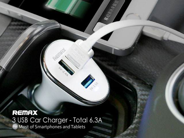 REMAX 3 USB Car Charger - Total 6.3A