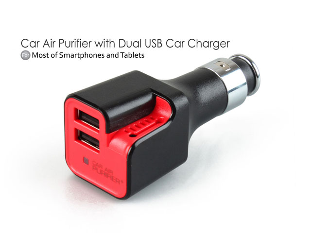 Car Air Purifier with Dual USB Car Charger